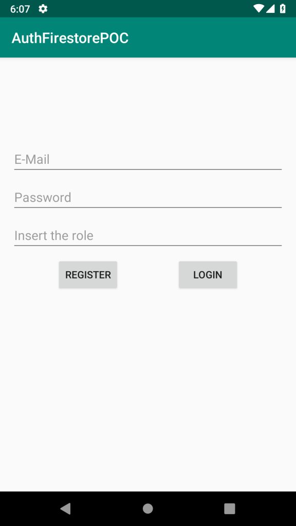 Login page of the demo app