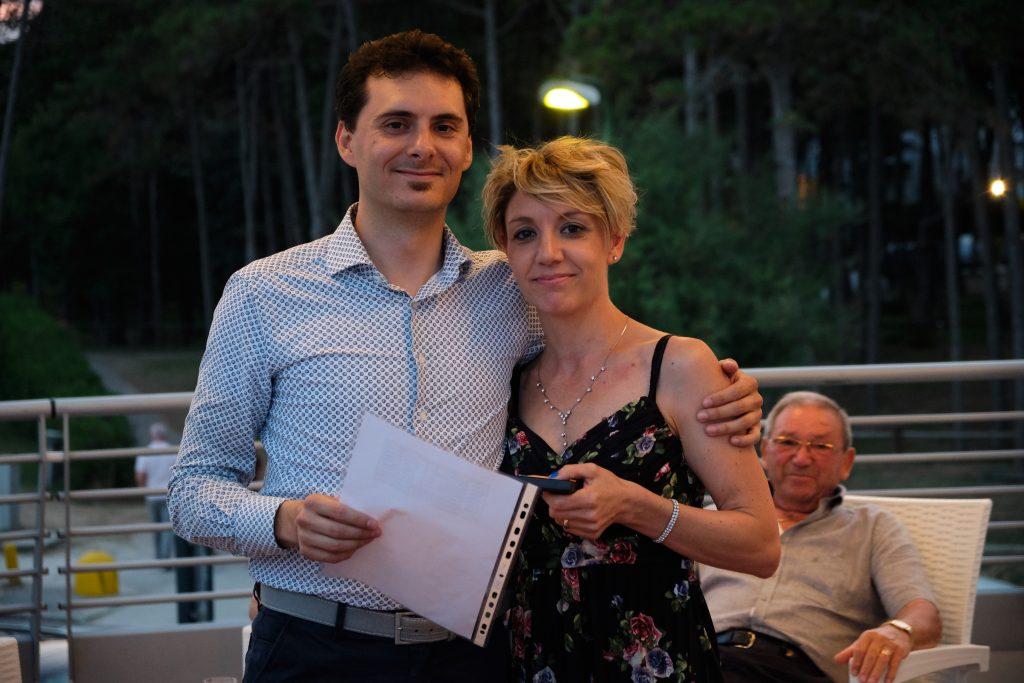 Elisa Battistutta e Daniele Angeli CEO di MOLO17 durante le premiazioni del concorso Knowledge Route