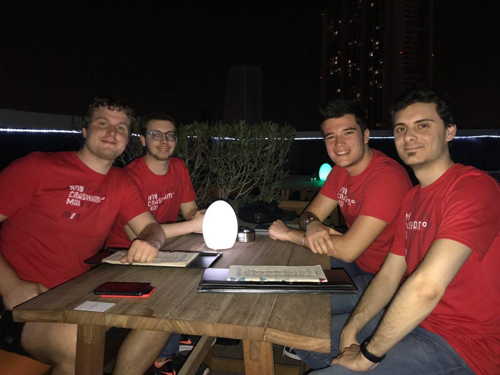 Daniele Angeli assieme ai colleghi di MOLO17: Damiano Giusti, Matteo Sist e Francesco Furlan