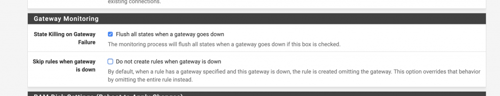 Enable this option for a faster reorganisation of the connections in case of gateway down
