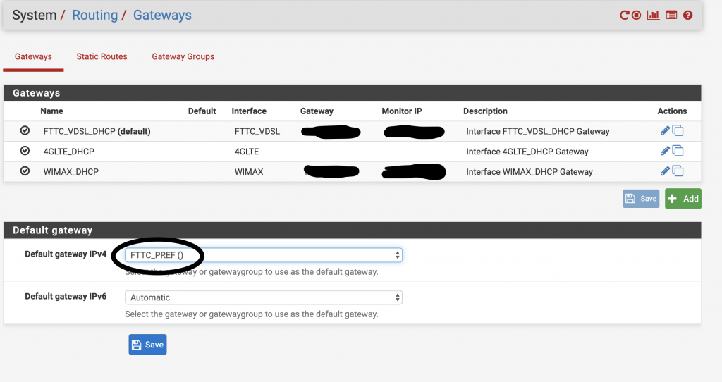 PFSense router gateways list page