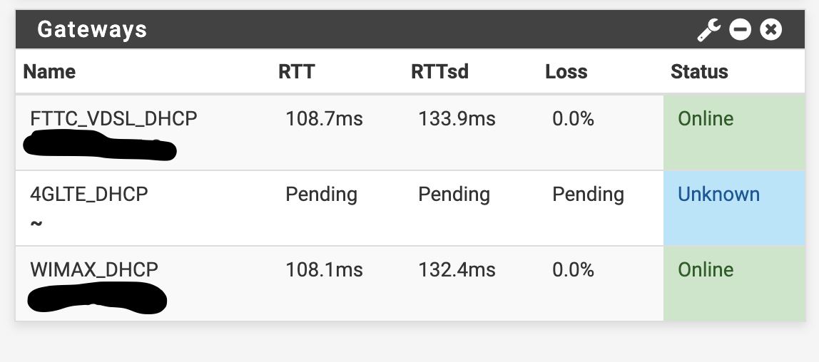 PFSense router dashboard Gateways widget page