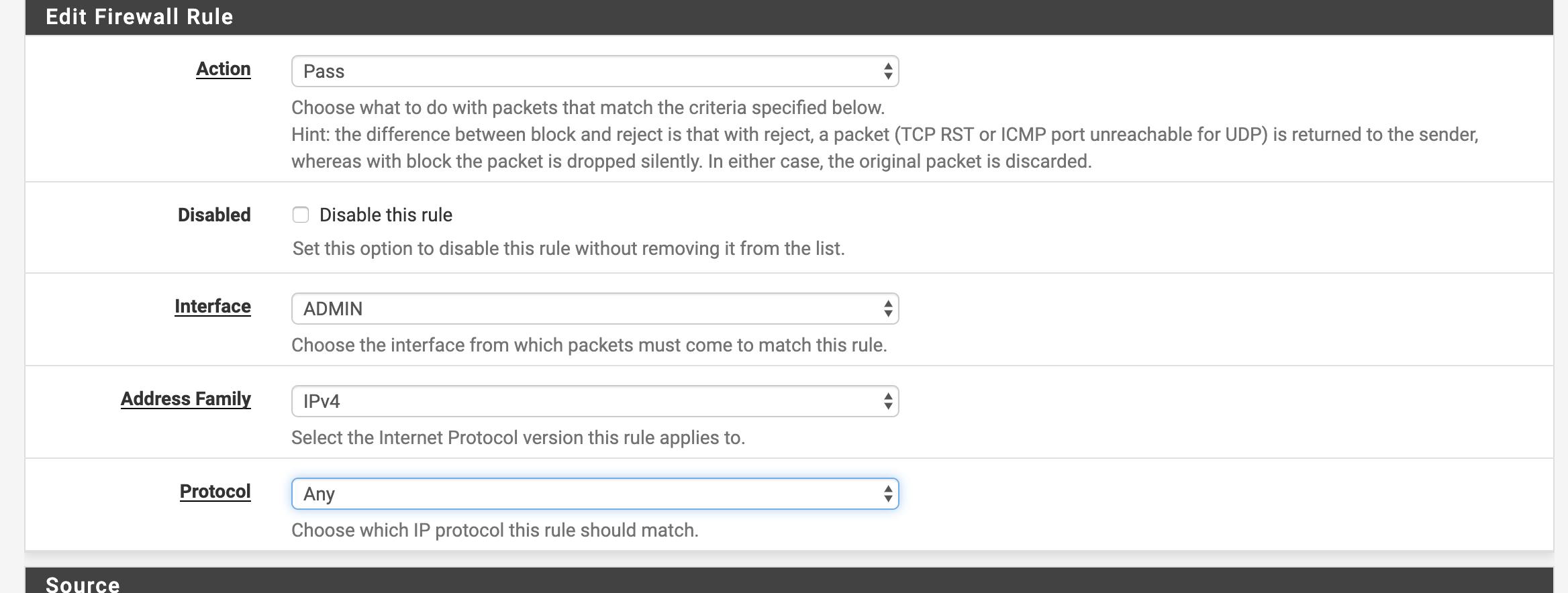PFSense router general rule's parameter