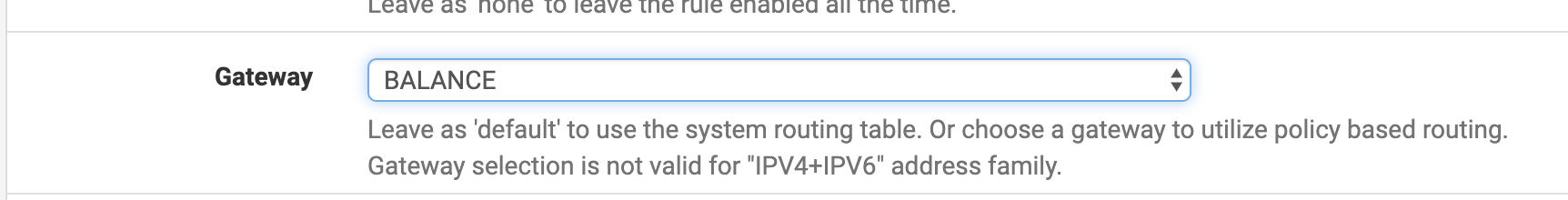 PFSense router gateways advanced options page