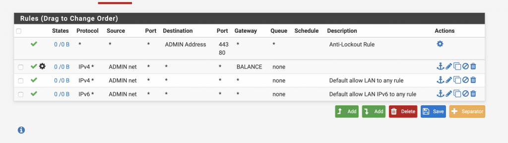PFSense router rules setup page