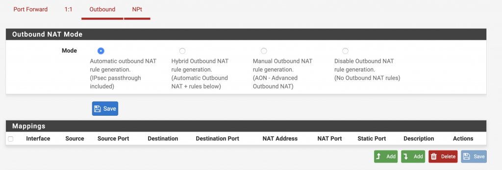 PFSense router outbound NAT page