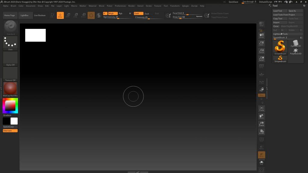 Interfaccia iniziale di Zbrush