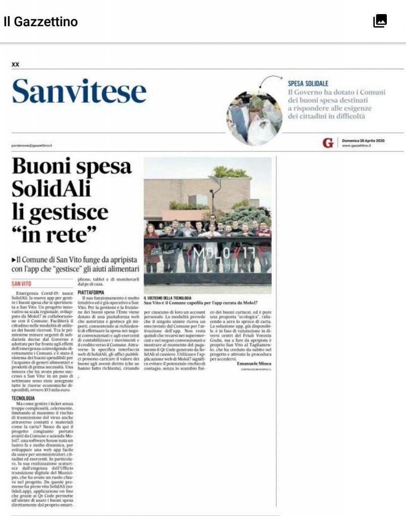 Articolo Gazzettino app SolidALI