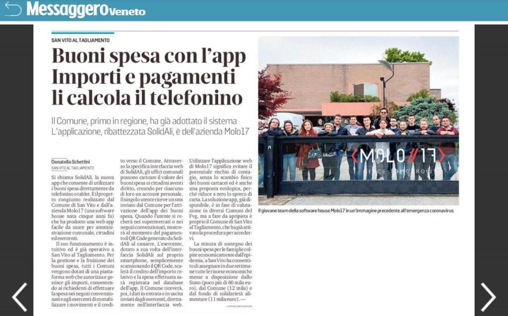 Articolo Messaggero app SolidALI