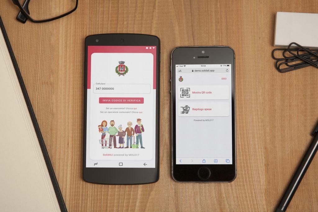 App web SolidALI - schermata home