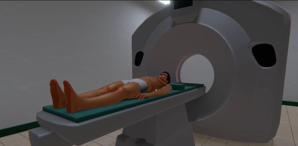 The patient in the CT machine during the exam