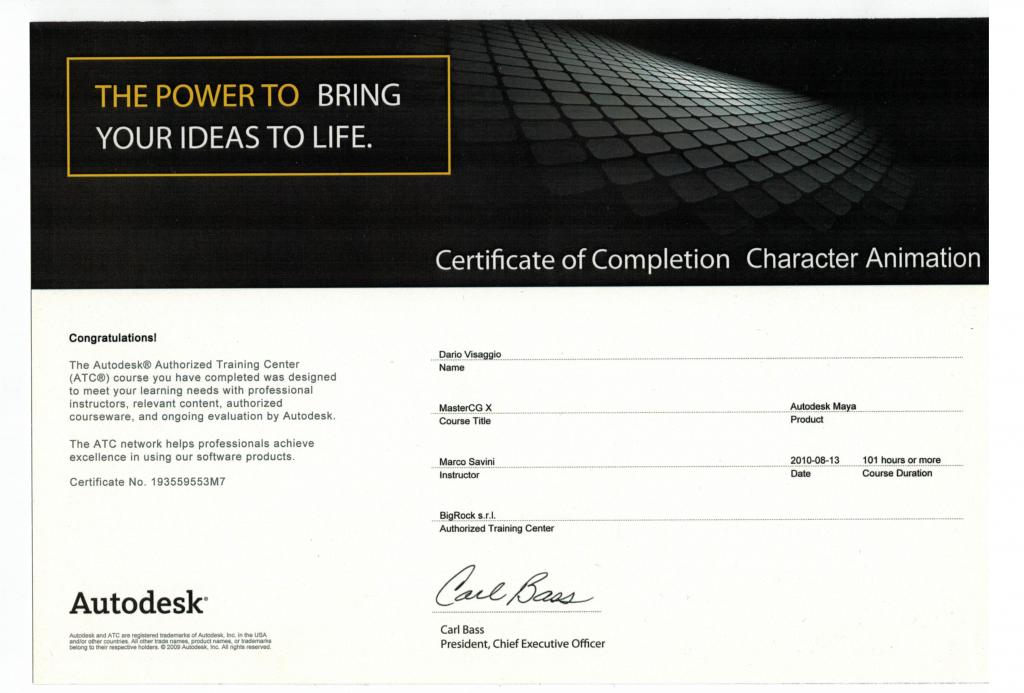 Certifica Dario Visaggio Autodesk
